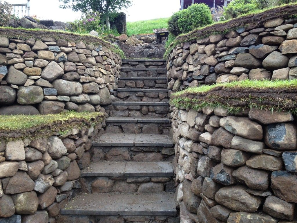 dry stone retaining wall and steps