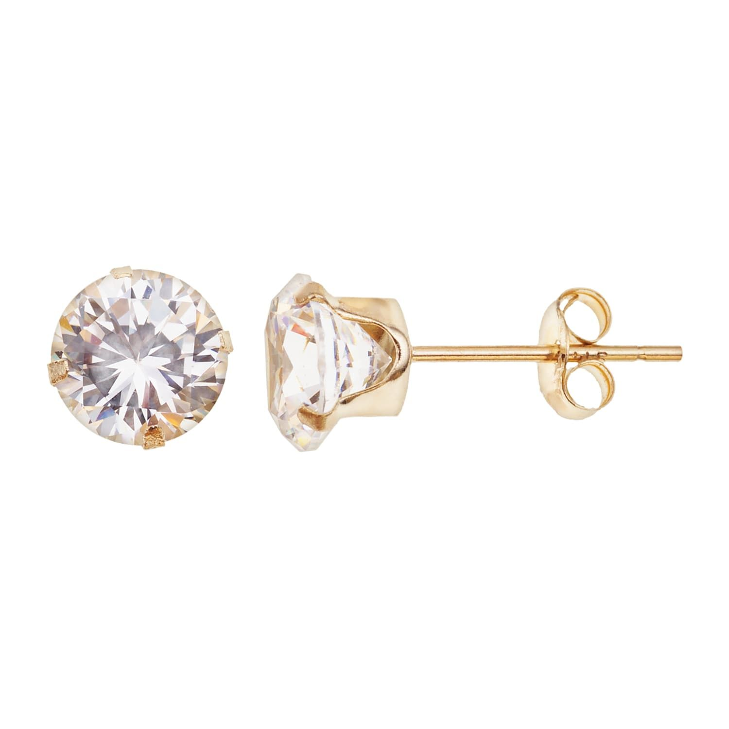 10k Gold Cubic Zirconia Stud Earrings Stud Earrings Jewelry Earrings