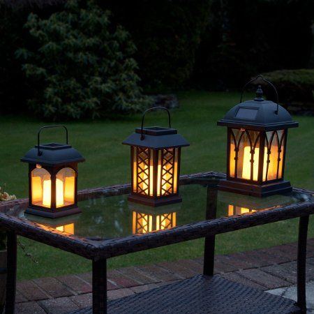 Solar Powered Flickering Led Candle Lantern 3 Pack By
