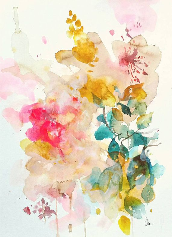 Watercolor painting abstract original art beautiful for Abstract watercolour flowers