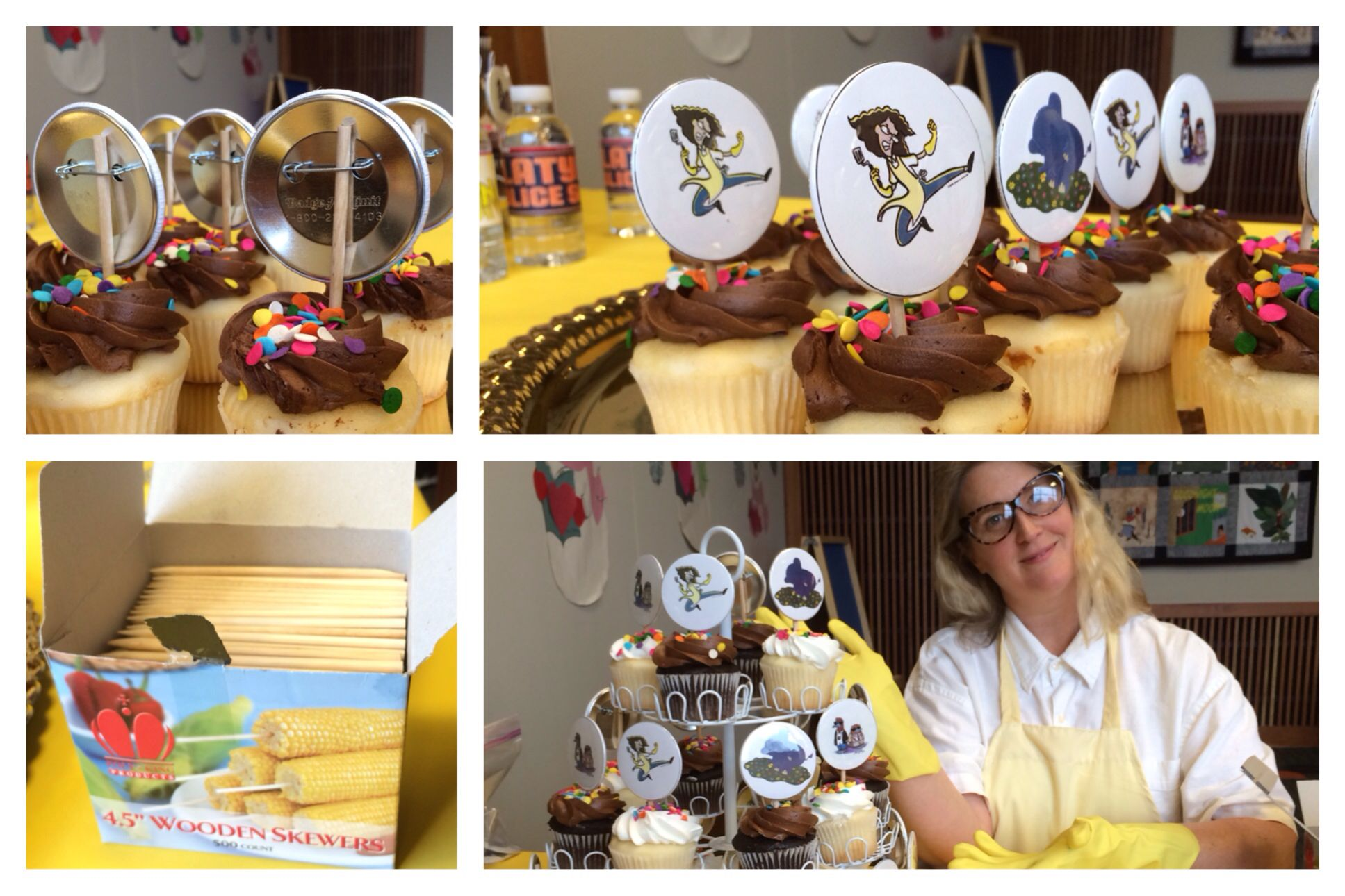 Librarian Eva Volin served up some cupcakes adorned with Ollie, Lunch Lady and Platypus Police Squad buttons! Deceptively simple. Kids love cupcakes and buttons!