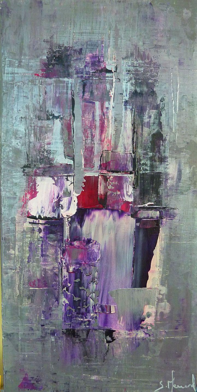 Toile Moderne Coloree Peinture Acrylique Huile Argente Violet