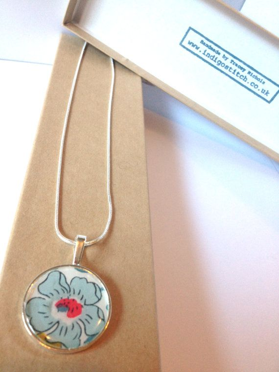 Silver Plated Pendant With Liberty of London by indigostitch, £10.00