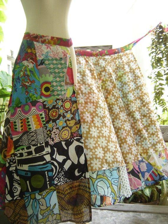 Soft Cotton Patchwork Extra Long Wrap Skirt - 0313 | Rock, Nähen und ...