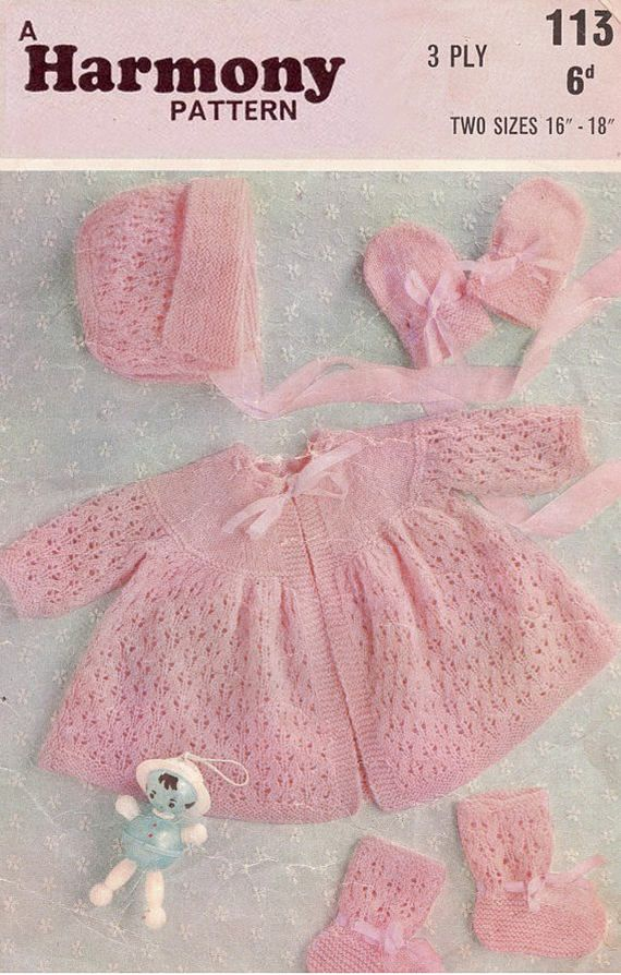 0894577c2 PDF Vintage Pretty Baby Girl PINK Lacy Pram Set Knitting