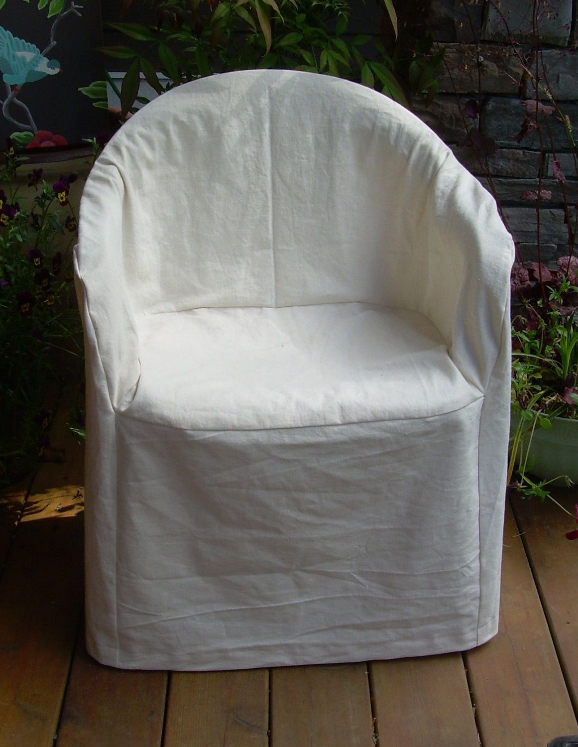 Hemp Cotton Slipcover For Outdoor Plastic Chair Crafts