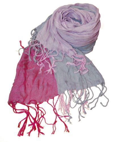 Beautiful scarf with striping in hot pink, soft pink and gray.