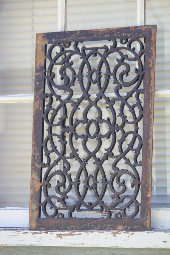 Easy Wall Art   Vintage Grate   This Would Be Beautiful On A Big Open Wall!  Antique Cast Iron Heat Register Grate Architectural Salvage Historic  Building ...
