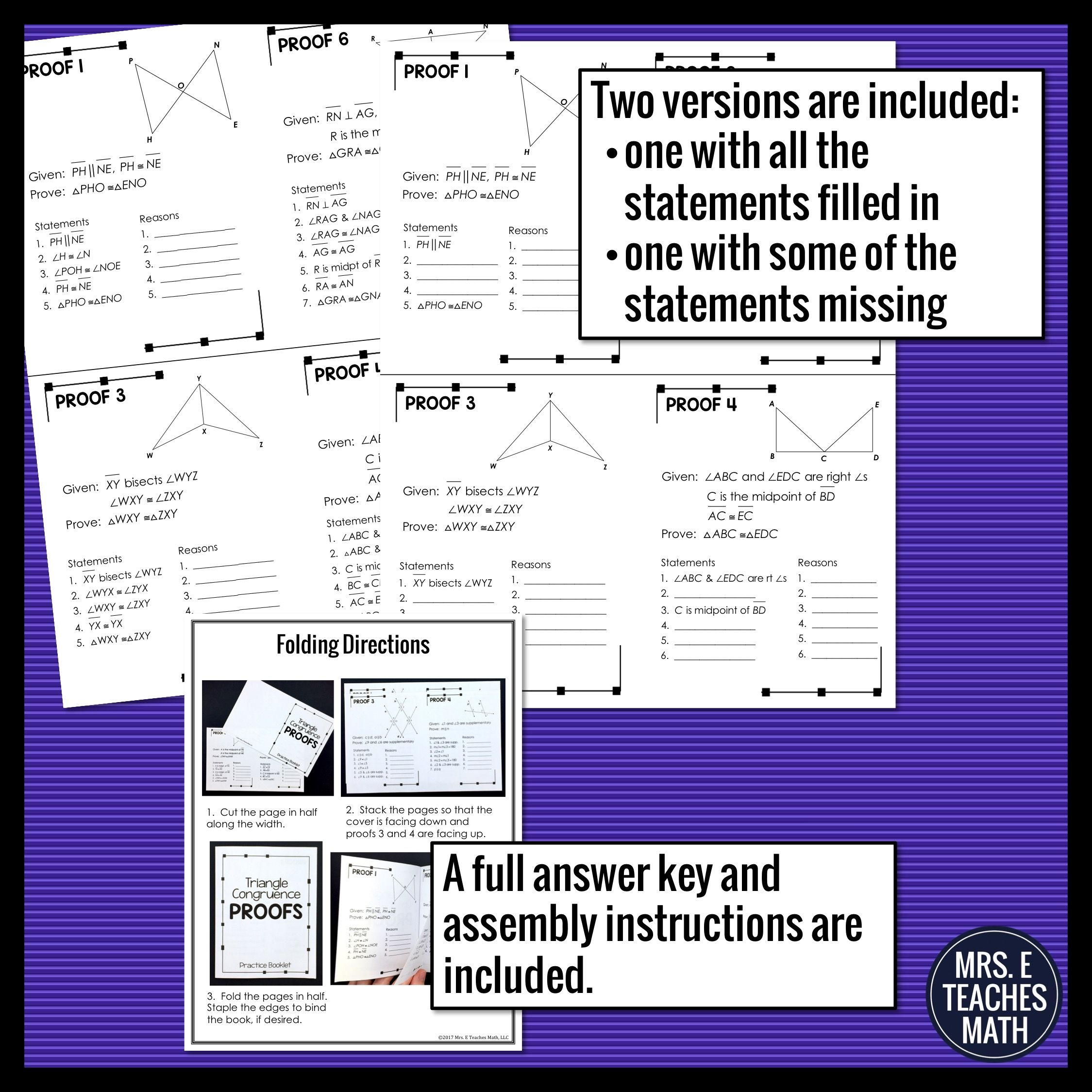 Triangle Congruence Proofs Foldable Practice Booklet