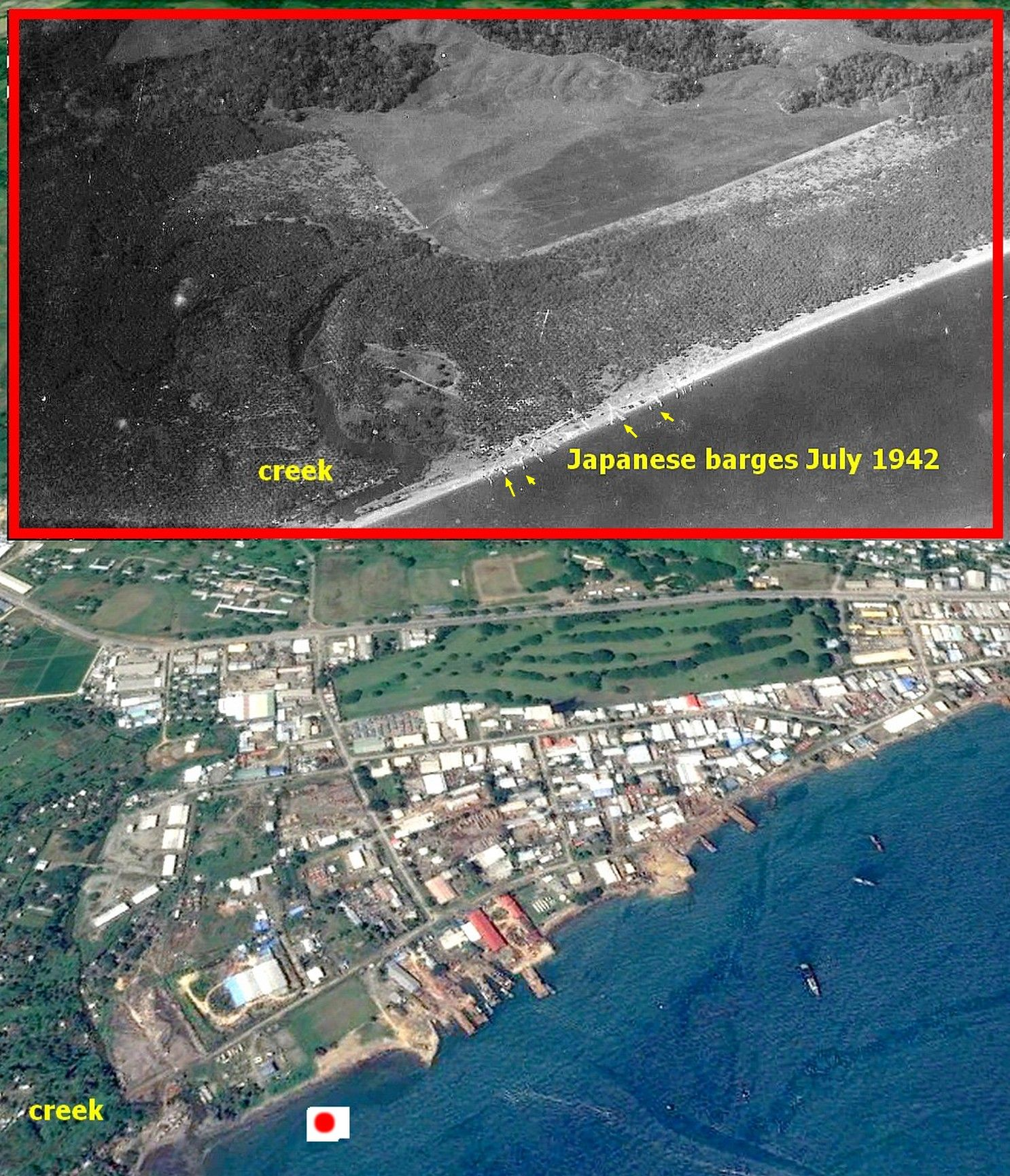 Solomon Islands Beach: Today And 1942 Japanese Aerial