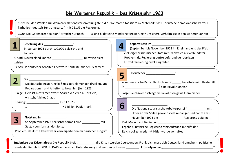 Arbeitsblatt Zum Krisenjahr 1923 Weimarer Republik Unterrichtsmaterial Im Fach Geschichte In 2020 Weimarer Republik Erdkunde Geschichte