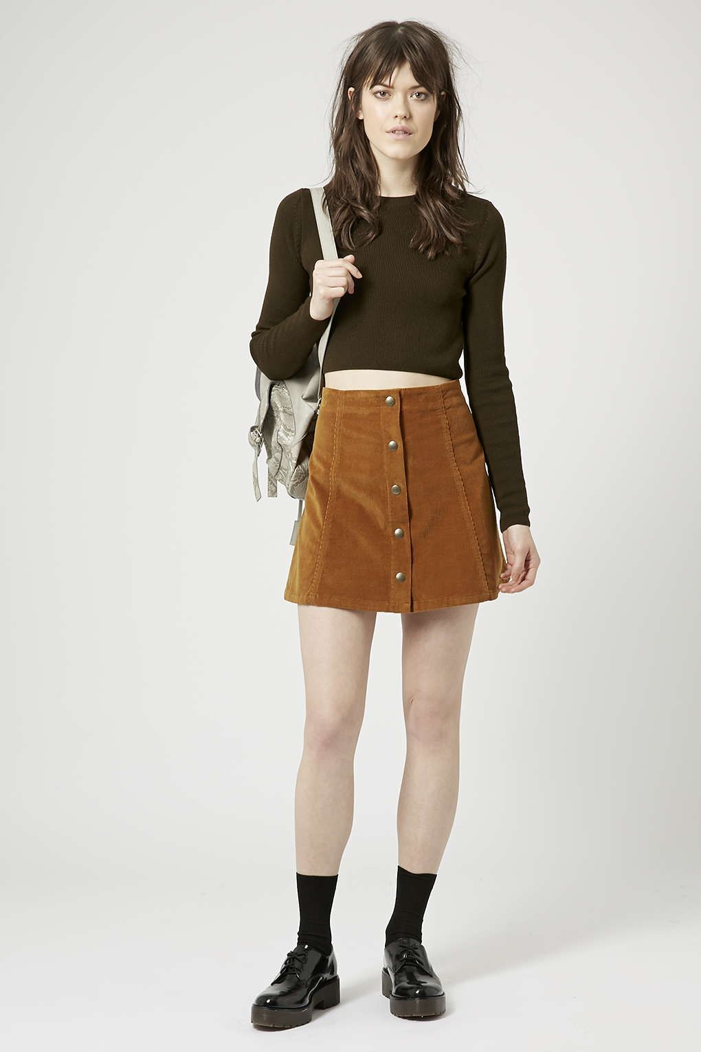 Cord Button Front A-Line Skirt - Skirts - Clothing | Топмагазин ...