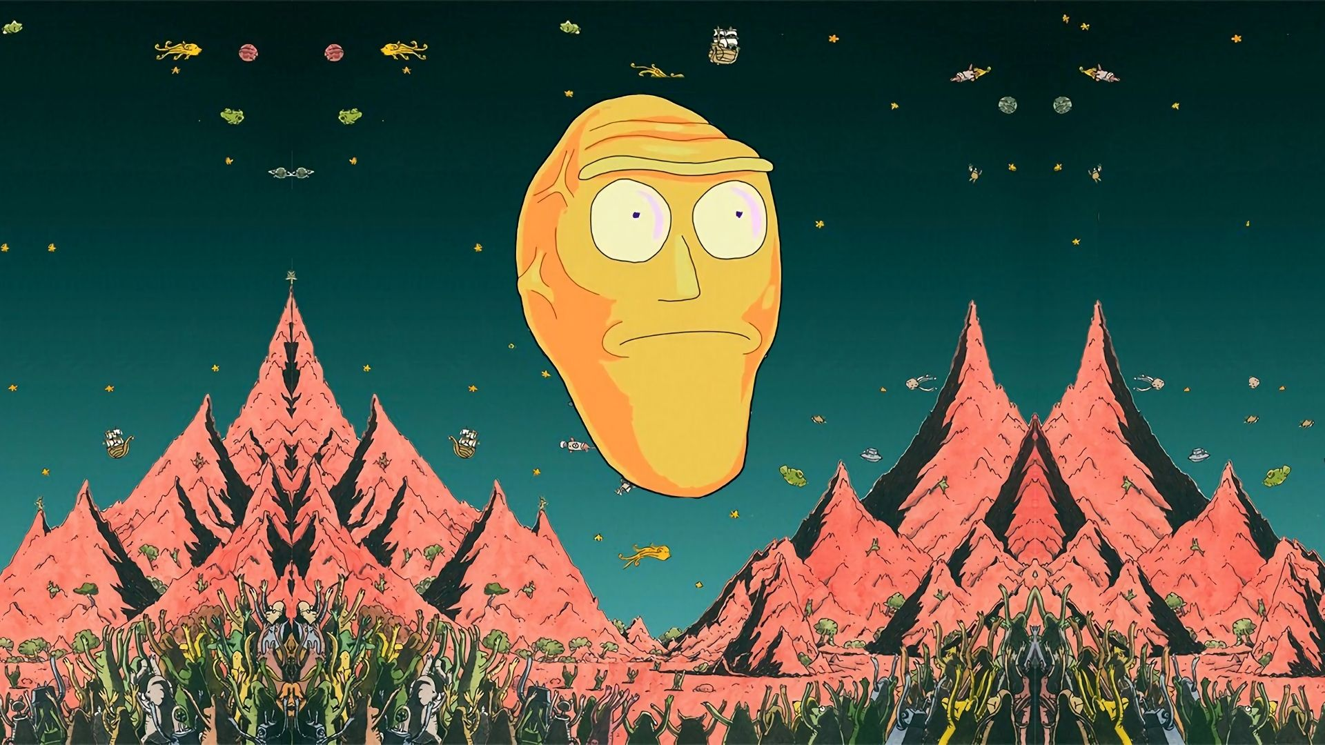 Rick And Morty Wallpaper Giant Heads 2021 Live Wallpaper Hd Cartoon Wallpaper Desktop Wallpaper Art Art Wallpaper