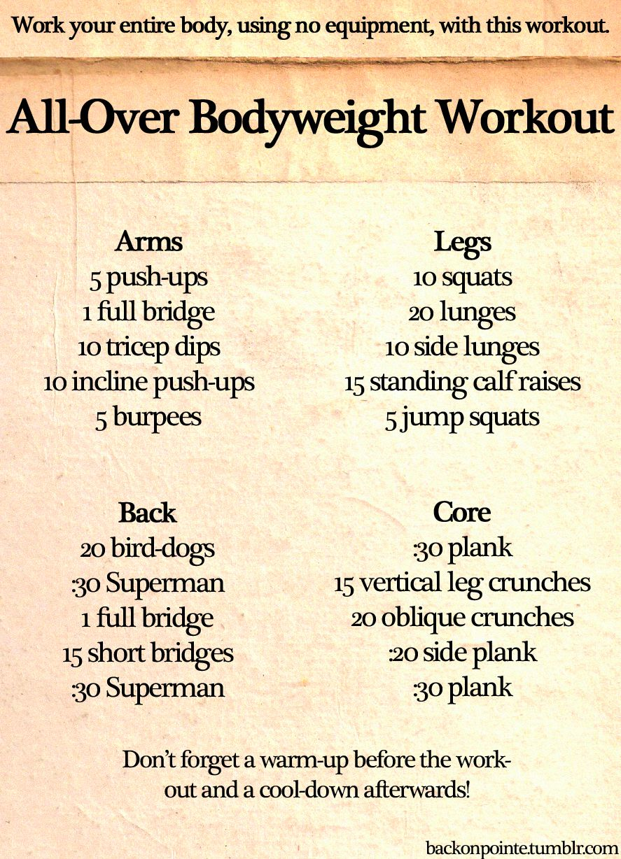Workout using body only