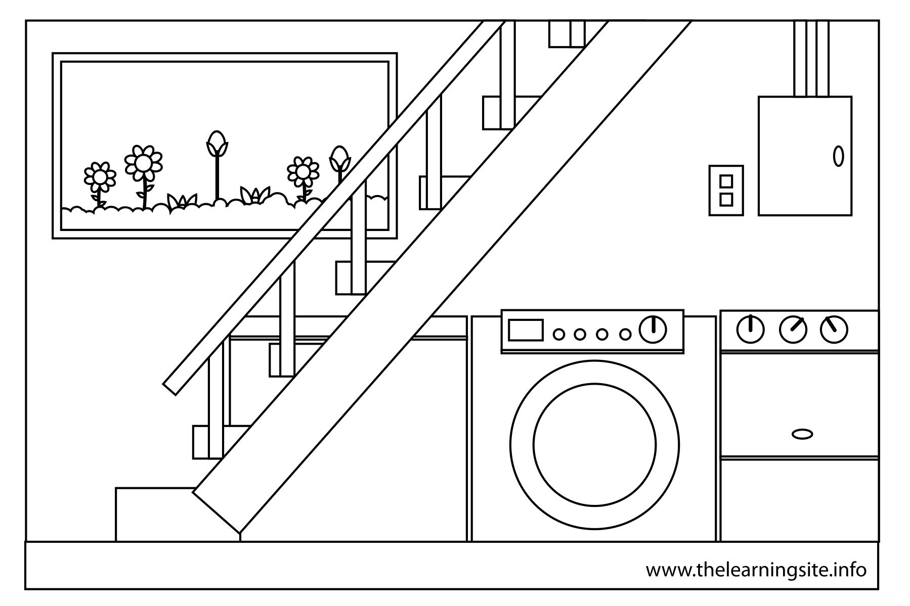 coloring pages house rooms basement bed room comfort room dinning room driveway garage garden