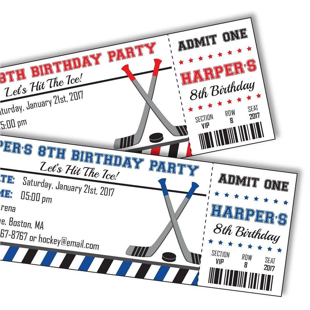 Hockey Birthday Invitation - Hockey Invitation - Hockey Party ...