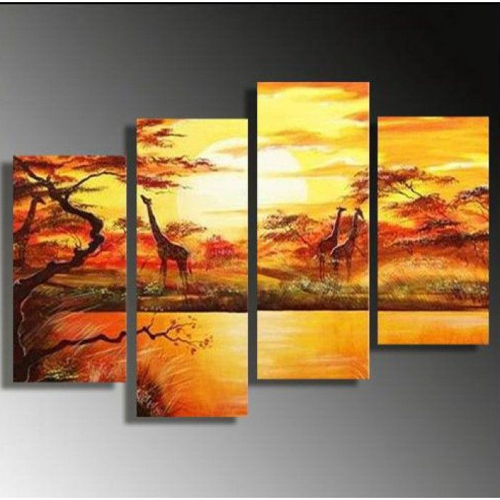 African Forest with Giraffes Oil Painting 50x36in - 4 Panels ...