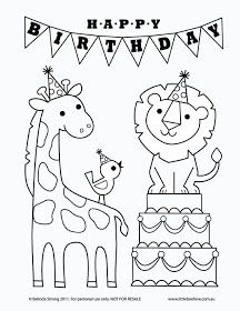 """Free """"Happy Birthday"""" Lion, Bird, and Giraffe Coloring Page"""