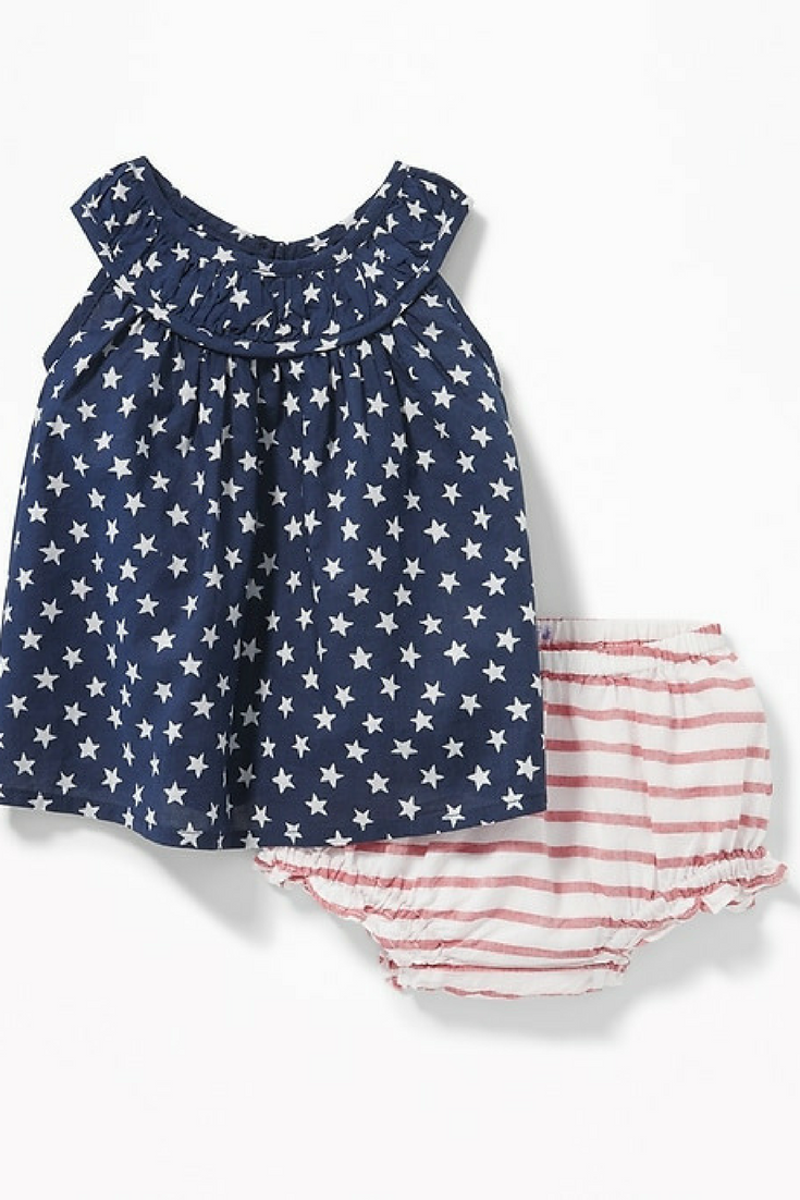 Stars and Stripes Tank and Bloomers Set. Adorable for Memorial Day weekend or 4th of July! #ad #oldnavy #4thofJulyOutfit