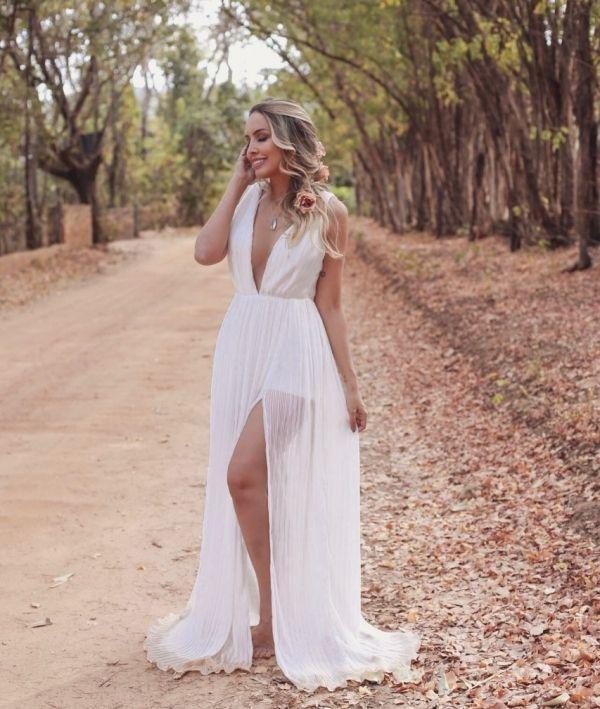 Vestido Branco Longo Para Pré Wedding Ou Mini Wedding