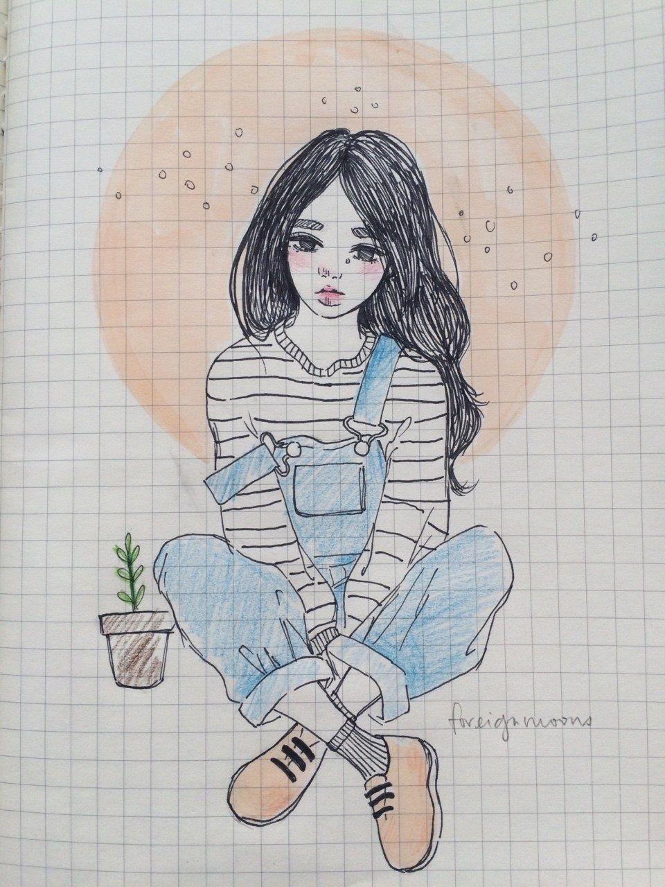 Картинки девушки для срисовки для личного дневника