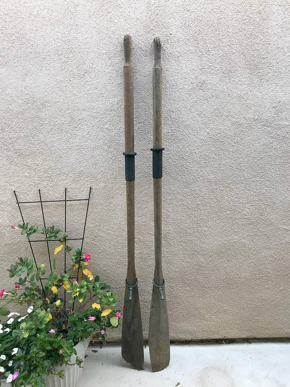 Pair vintage oars wooden rustic weathered boat coastal wall also rh pinterest