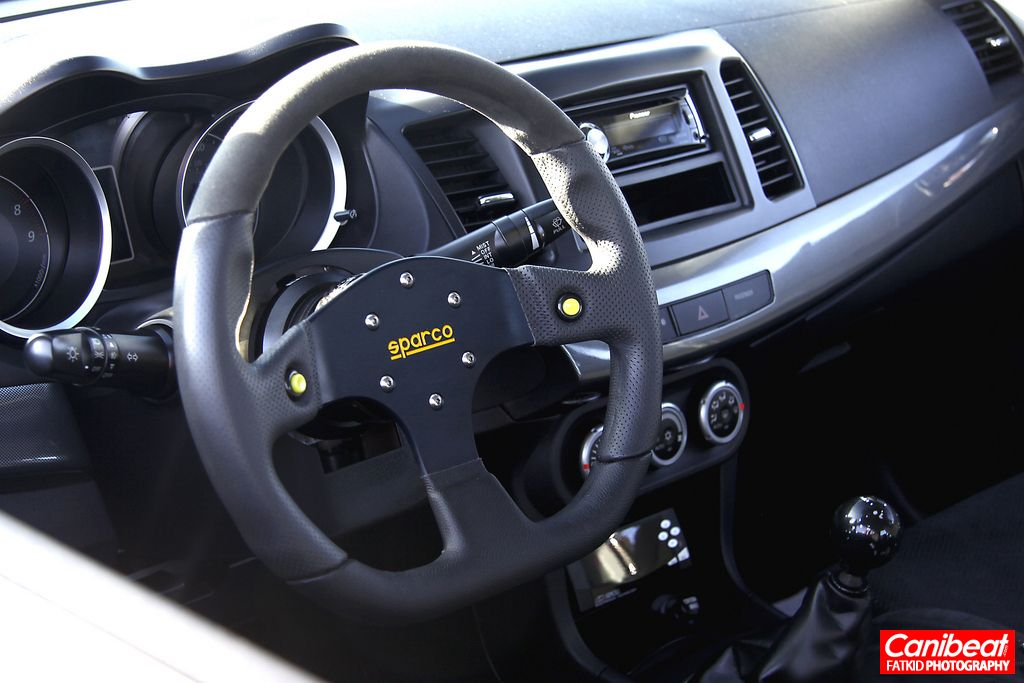 Flossy EVO X stanced Advan RS sparco steering wheel