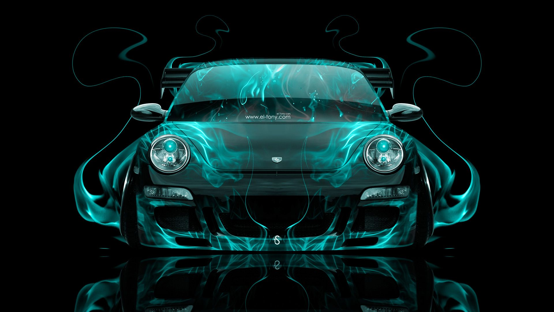 Porsche 911 Front Azure Fire Abstract Car 2014