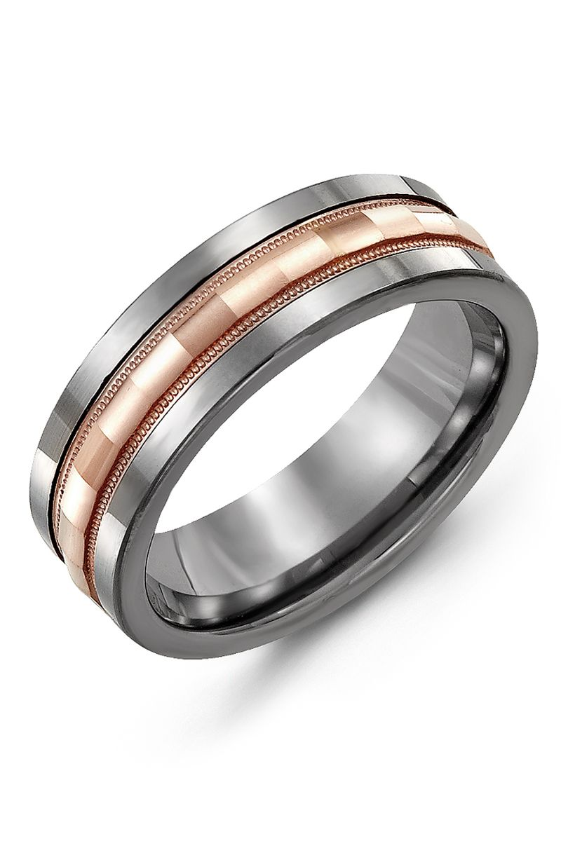 Alternative Metal Infinity Ring With Faceted Centerpiece Rose Gold