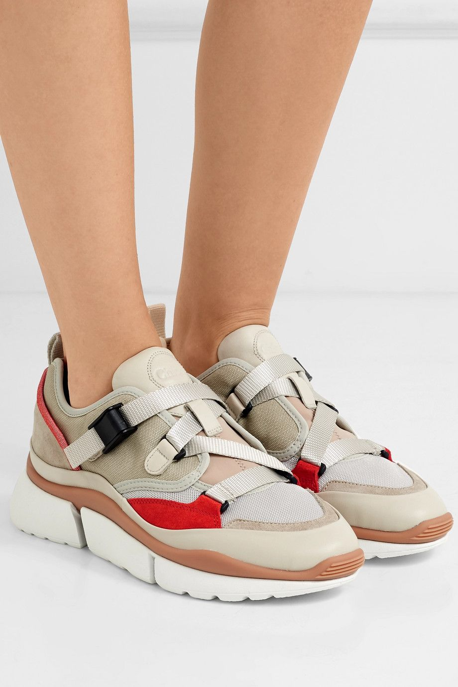 trimmed leather Chloé and suede Sonnie canvas mesh sneakers and RxgwgqFI