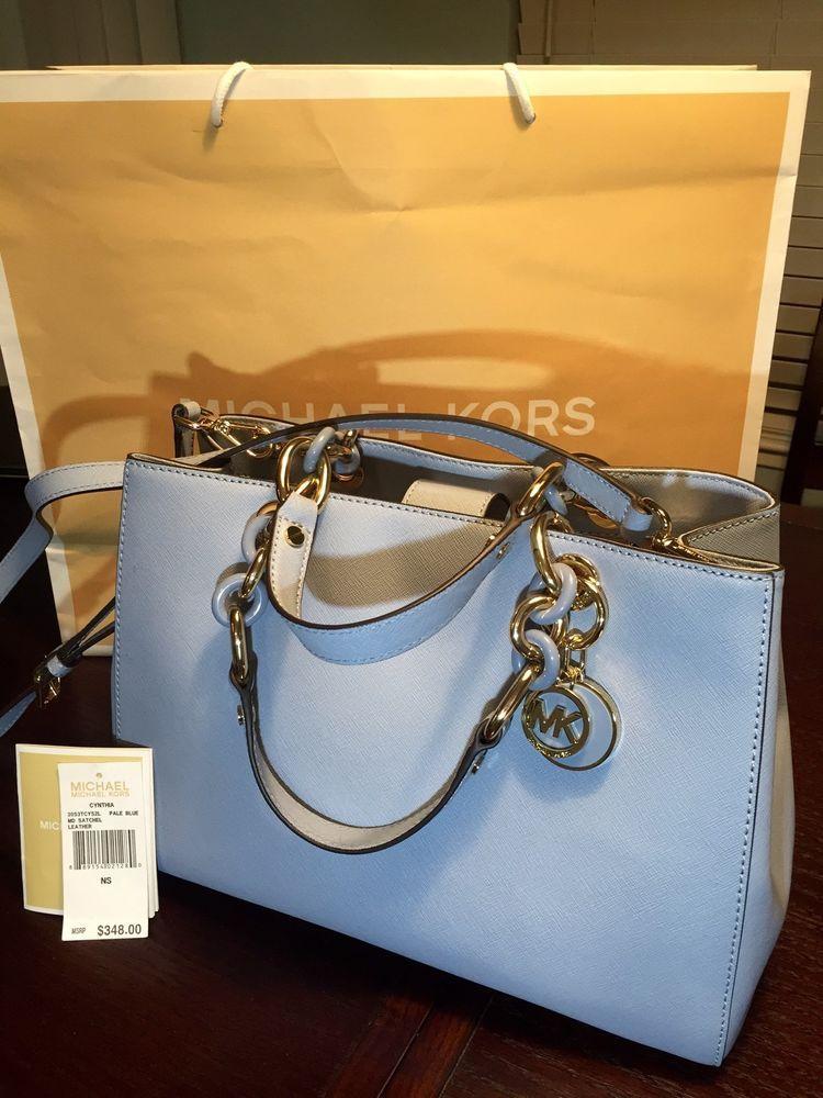 0611563fb4e4 ... usa michael kors mk cynthia medium satchel leather bag purse tote  handbag pale blue michaelkors 21dfe
