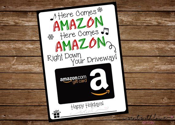 Photo of Here Comes Amazon, Amazon Gift Card Holder, Gift for Teacher, Christmas Gift Card Holder, Printable Gift Card Holder, INSTANT DOWNLOAD