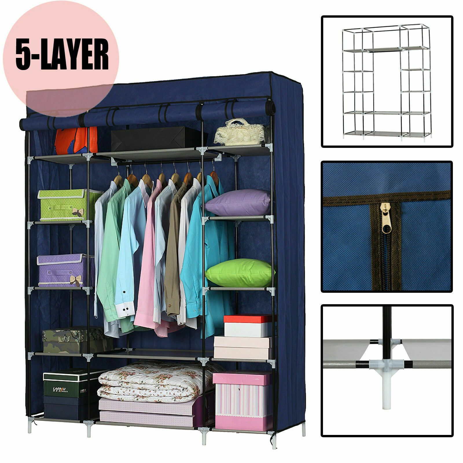 Details About Portable Heavy Duty Closet Storage Organizer Clothes