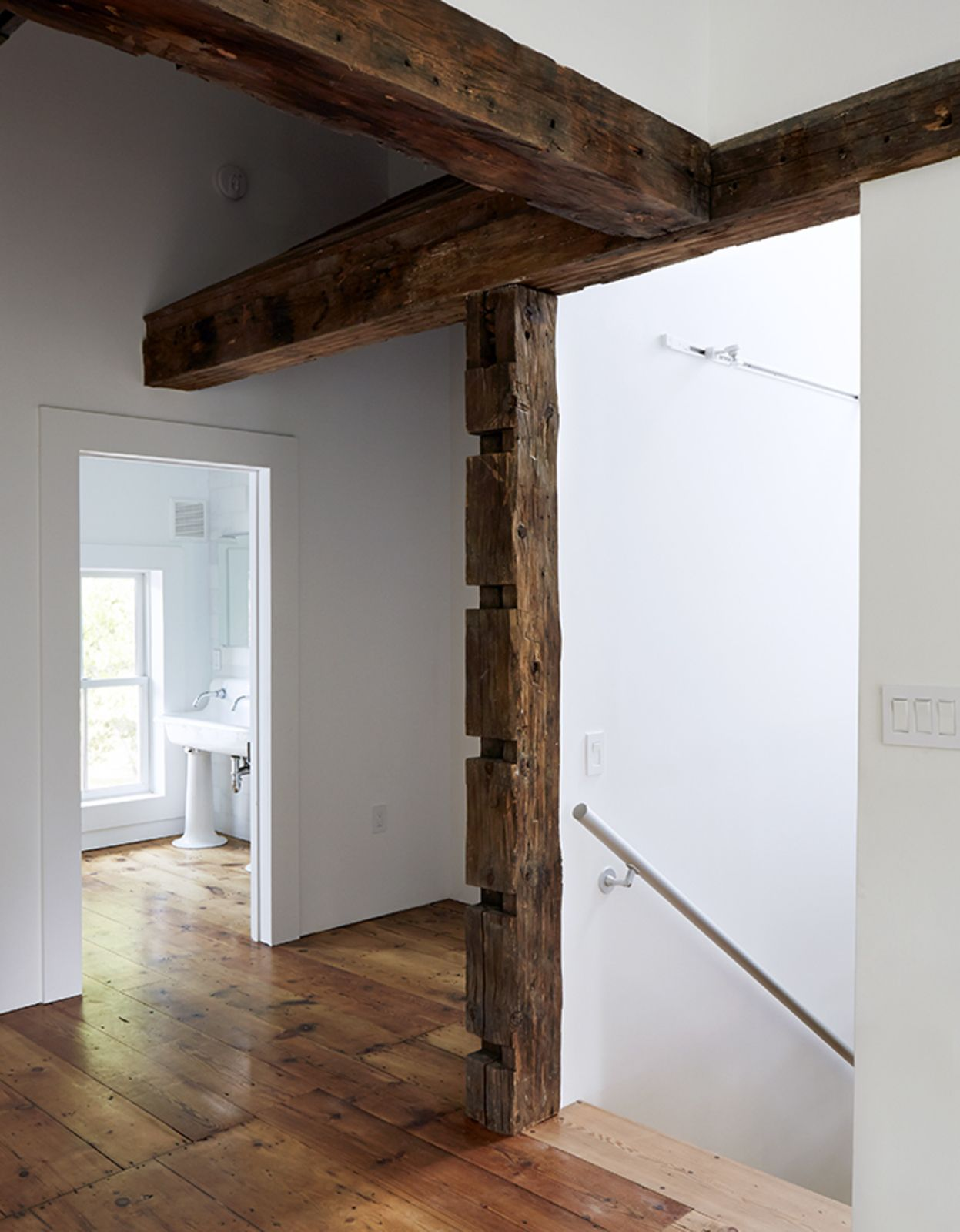 Inspiration Modern Farmhouse From A Mind Bending Renovation Brings House Renovation Projects Exposed Wood Wood Beams