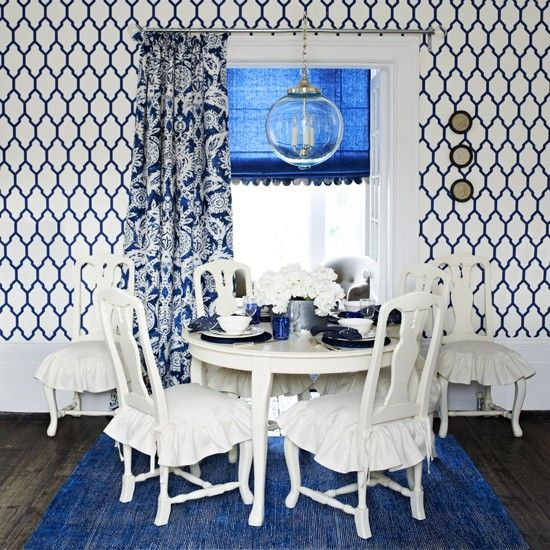 Blue And White Patterned Dining Room Dining Room Decorating Ideal Home Blue Room Inspiration Blue And White Wallpaper Modern Dining Room
