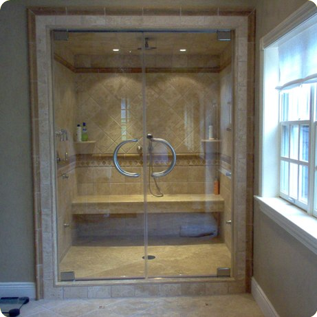 Glass shower doors and enclosures are available as framed with a ...