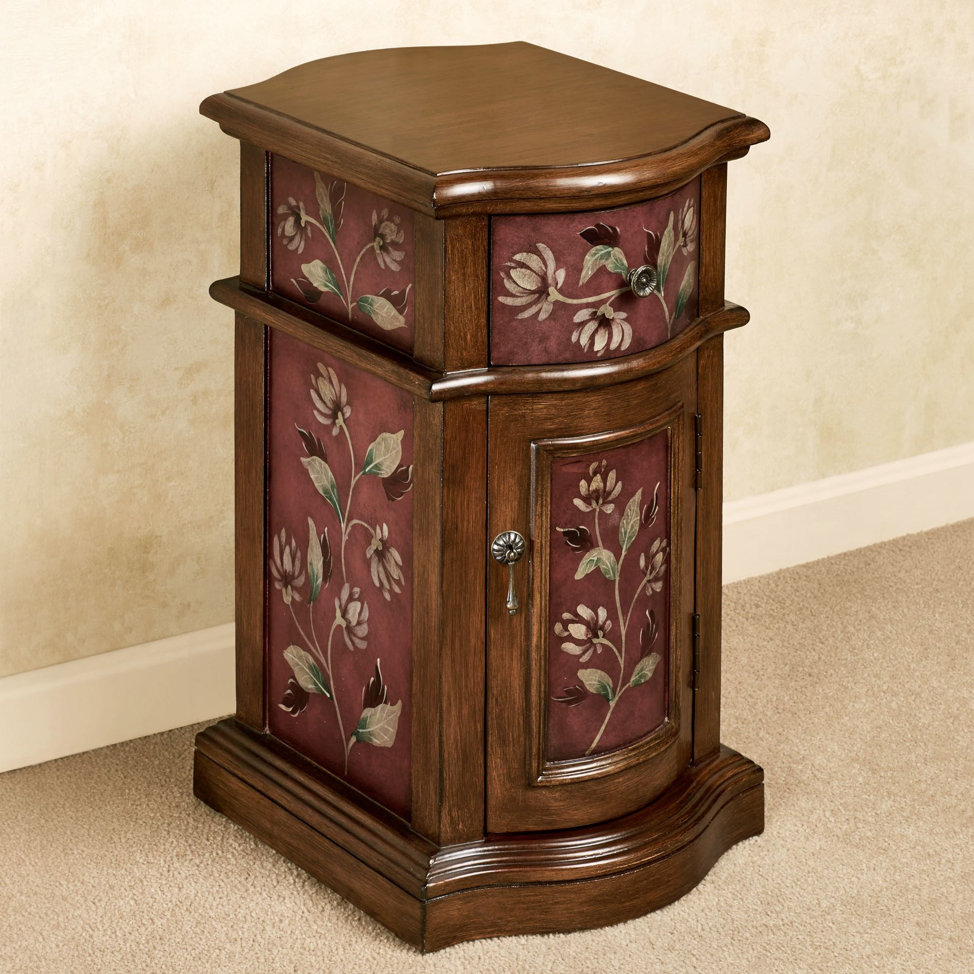 Best Sophie Floral Wooden Chairside Cabinet Furniture Accent 640 x 480