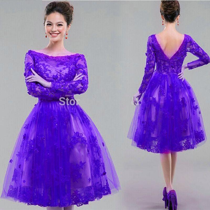 Elegant Long Sleeve Lace Cocktail Dresses 2017 Knee Length Purple ...