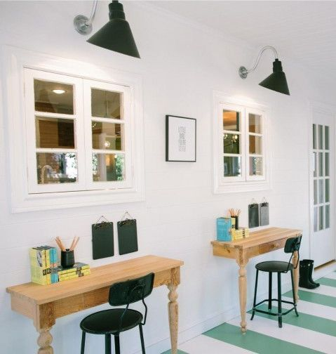 2 wall-mounted desks from a table cut in half | Homeschooling ...