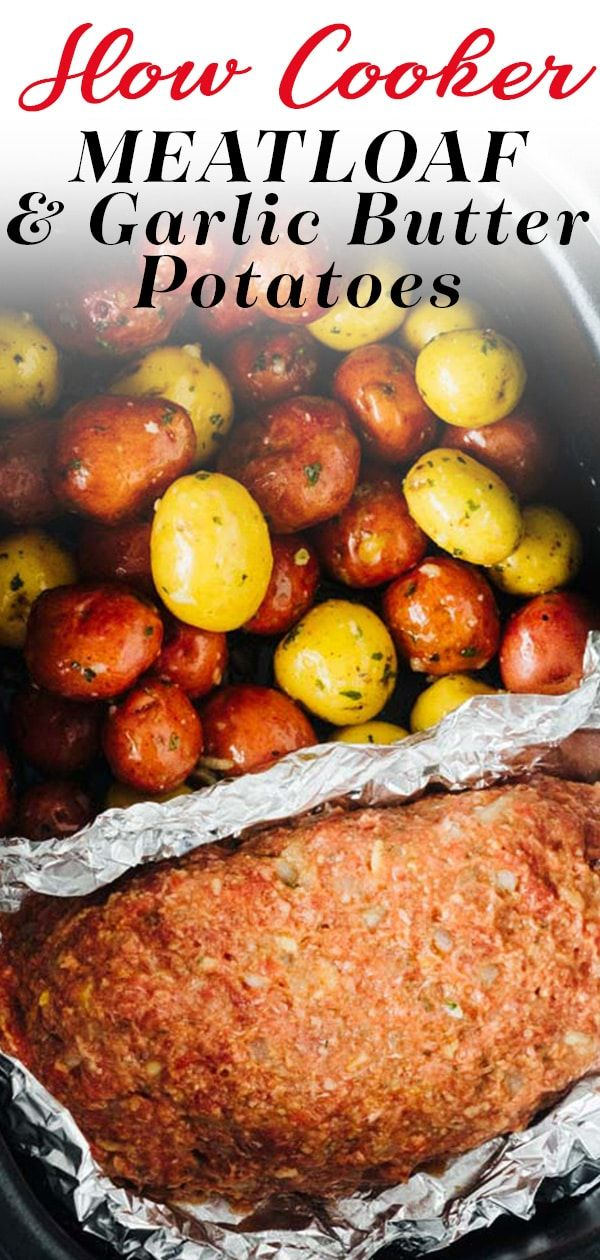 This slow cooker meatloaf is so easy to make and everyone that makes it agrees it is the best. Saltine crackers are the secret ingredient in this and as a bonus, you can cook the meatloaf right alongside some baby potatoes smothered in garlic butter for a hearty dinner made in only the crock pot!