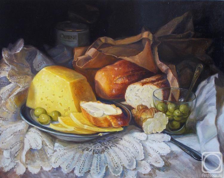 Картина маслом на холсте «Натюрморт с сыром и оливками» in ... Натюрморты Маслом Для Кухни