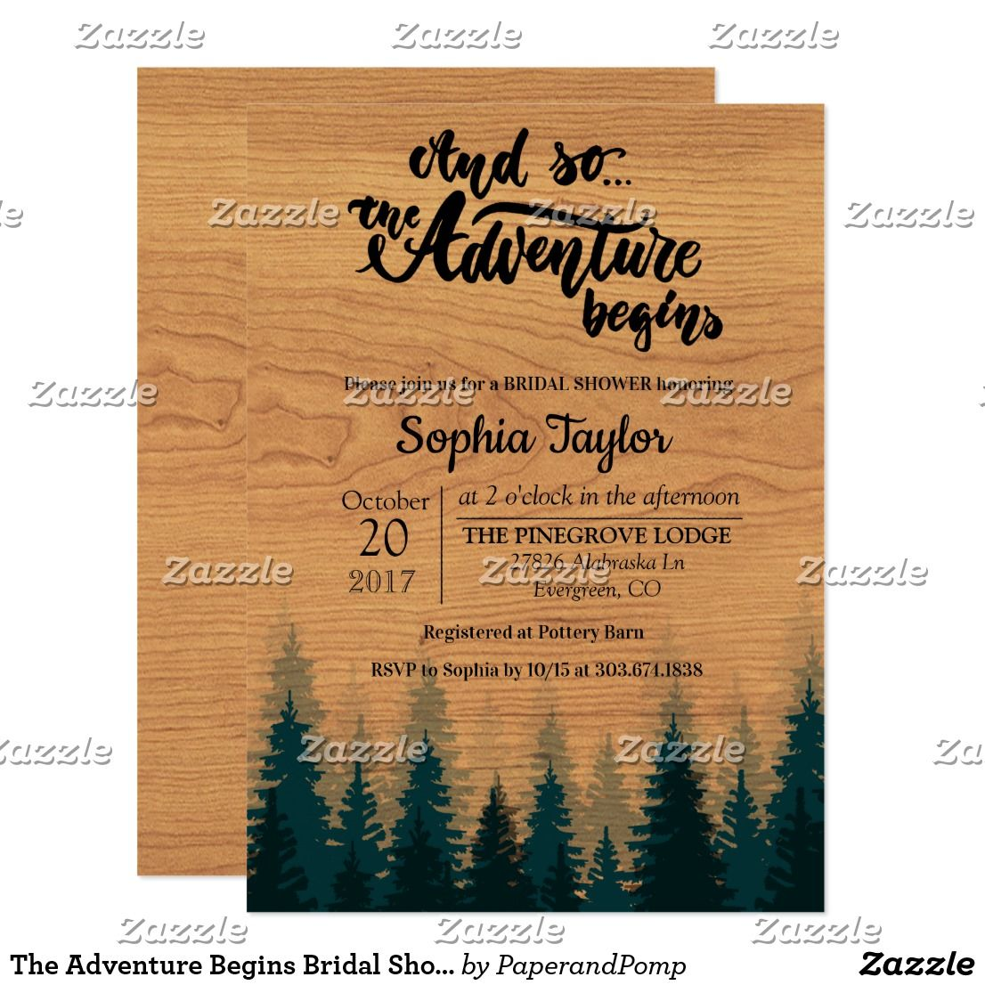 The Adventure Begins Bridal Shower Invitation Shower Invitations