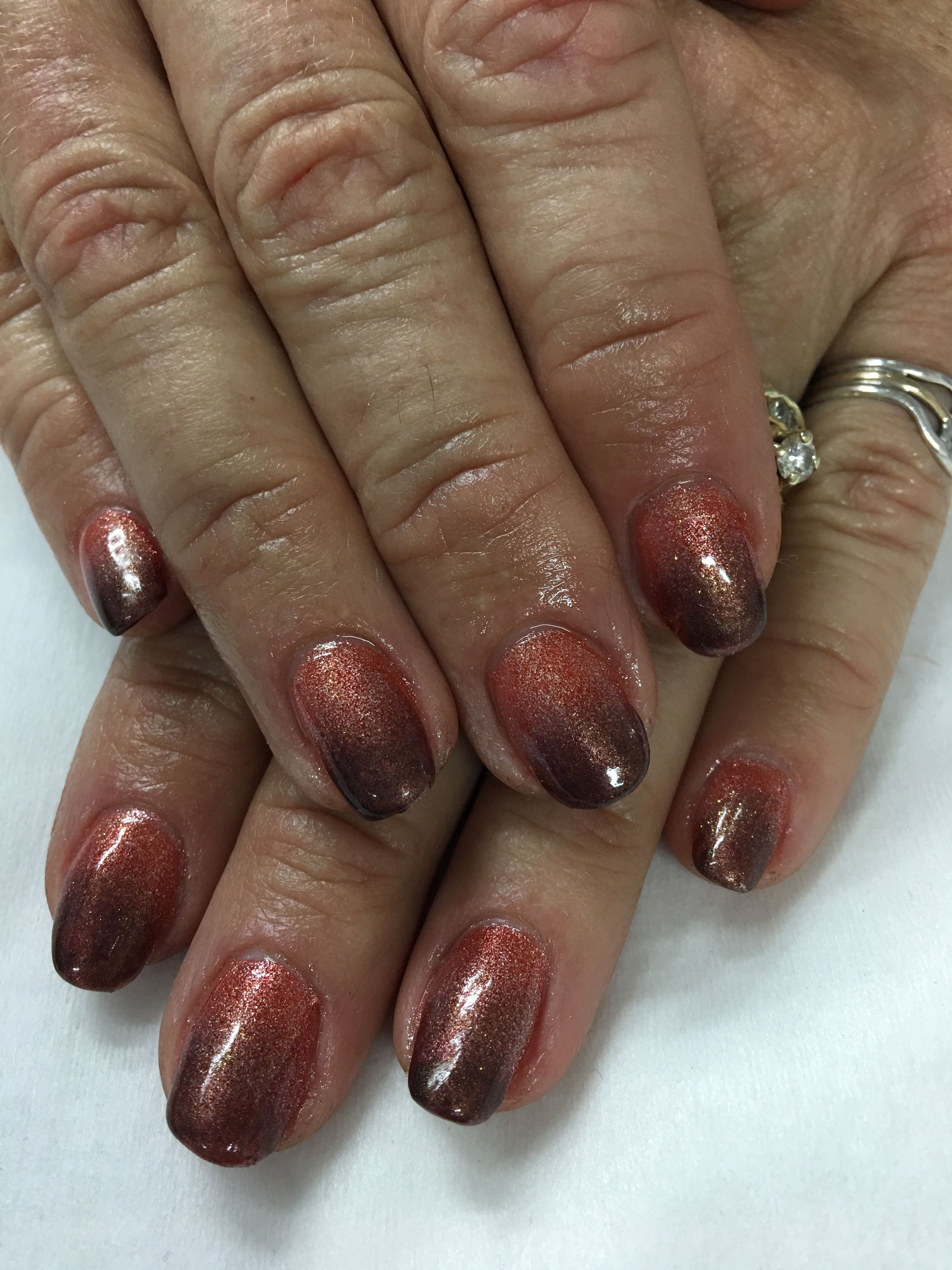 burnt orange ombr brown fall gel