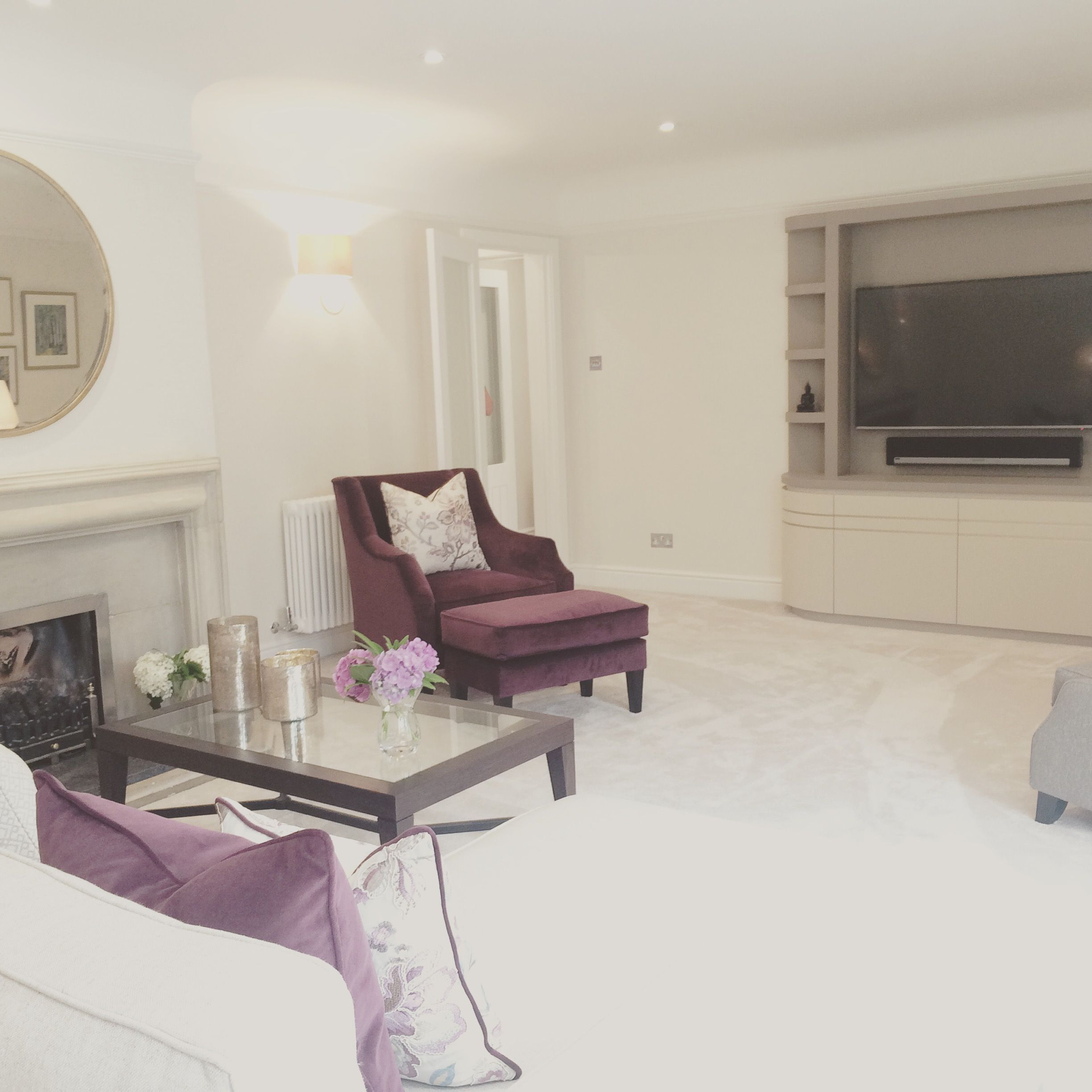 Superb Elegant Sitting Room With Bespoke Built In Cabinetry. Colours Are Cream And  Purple With Purple Pictures