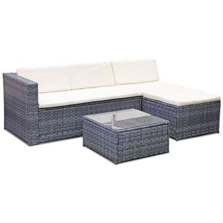 Fine Living - 4 Piece Rattan Livorno Lounge Set - Marble ... on Fine Living Patio Set id=25703
