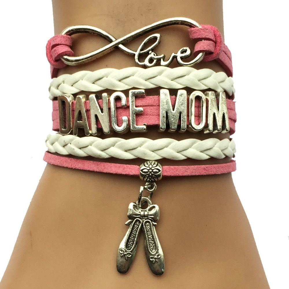 Drop shipping infinity love dance mom shoes charm bracelet pink