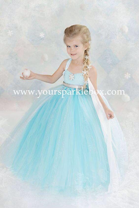 f5ac8ac16 Vestido de tul de Elsa para niña | vestidos de elsa | Vestido elsa ...