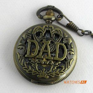 DAD Carved Cover Bronzed Hollow Hand-winding Mechanical Pocket Watch Father Gift by new brand. $12.99. ItemnoNBW0PO7039 GenderUnisex MovementHand-winding Mechanical Movement Case Size64*45mm Case Thickness16mm BezelBronze alloy bezel with openwork cover DialBlack and golden hollow transparent dial with Roman numerals hour marking Case BackTransparent case back that the movement of the watch can been seen CrystalHigh Quality Organic Crystal- Maximum Scratch Resistant...