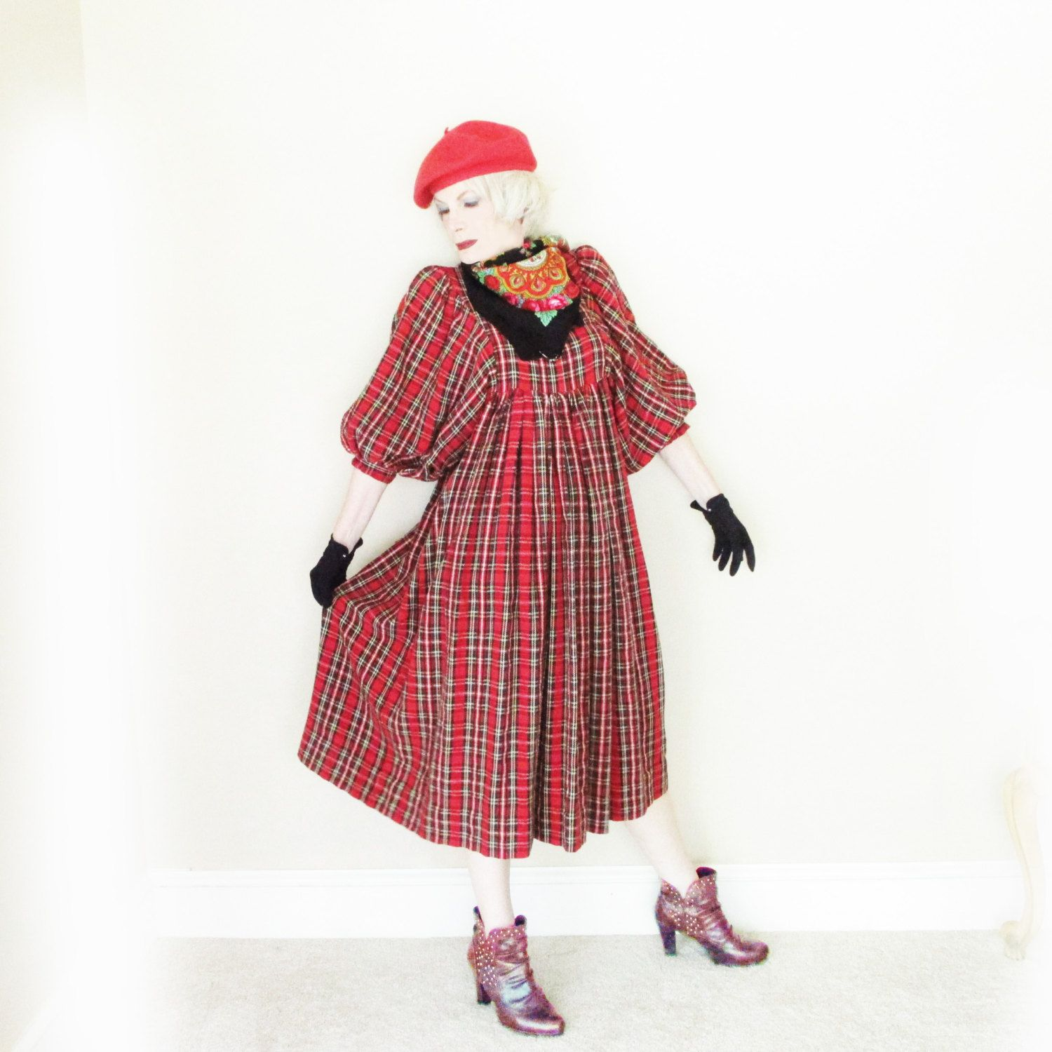 Vintage Loose Plaid Midi Dress - 1960s Casual Red Plaid for Fall & Holidays - Vintage Maternity by LunaJunctionVintage on Etsy