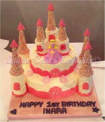 Two Tier Princess Castle Cake Made As An Order Decorated With Fresh